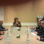 EU's HR Catherine Ashton holds trilateral meeting with French FM Fabius and Iran FM Zarif, in Geneva.